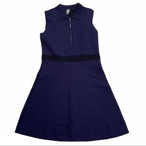 TRISTAN collared sleeveless navy half zip dress